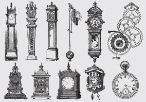 vector-old-style-drawing-clocks